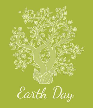 dessin fleur: Fond vert avec arbre pour Jour de la Terre. Vector illustration. Illustration