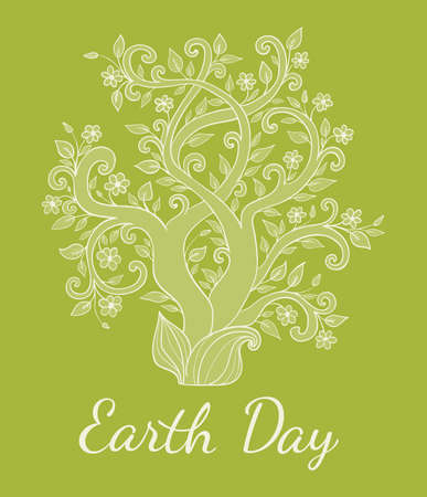 flower white: Green background with tree for Earth Day. Vector illustration. Illustration