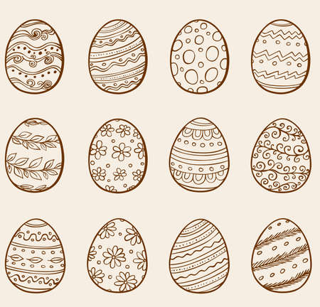 retro flower: Set of hand drawn doodle Easter eggs. Vector illustration.