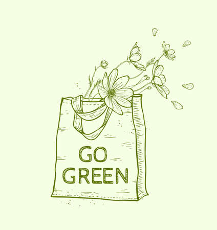 reusable: Hand drawn reusable shopping eco bag with flowers. Vector illustration.