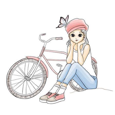 femme dessin: Mignon jeune fille en chapeau rose avec un vélo. Vector illustration tirée par la main.