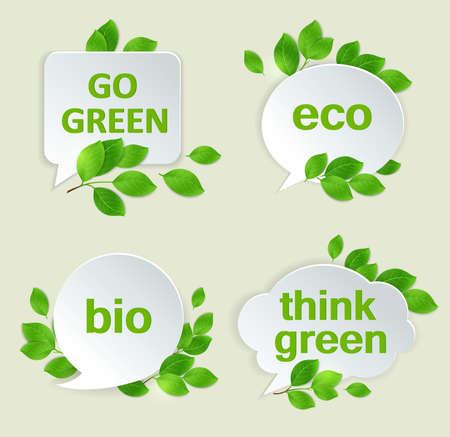 Vector eco labels with green leaves and inscriptions.
