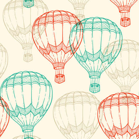 hot tour: Hand drawn vector seamless pattern with air balloons flying in the sky Illustration