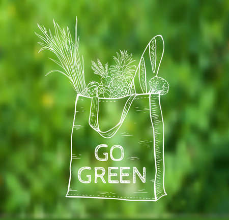 reusable: Reusable shopping  eco bag on a green blurred background. Hand drawn vector illustration.