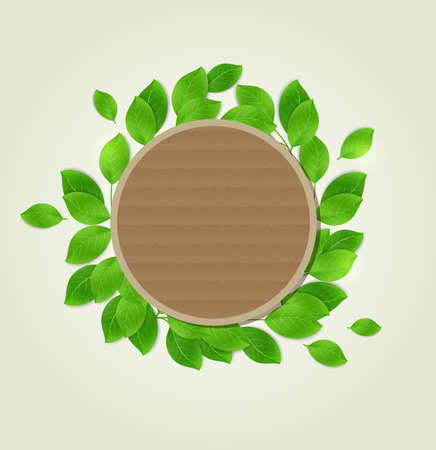 green leaves: Round cardboard label with green leaves. Vector illustration. Illustration