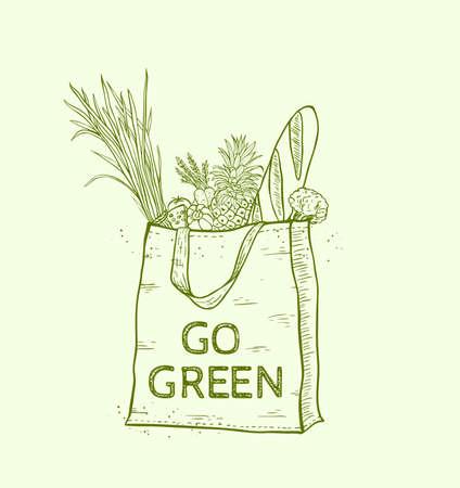 reusable: Reusable shopping eco bag with fresh food. Hand drawn vector illustration.