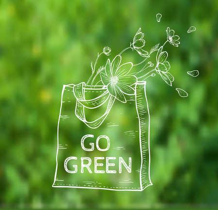 cosmos: Reusable Shopping Öko-Tasche mit Blumen auf einem grünen Hintergrund unscharf. Vektor-Illustration.