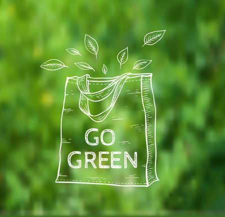 reusable: Reusable shopping  eco bag on a green blurred background. Vector illustration. Illustration