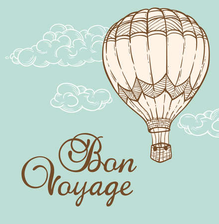 design drawing: Vintage background with air balloon flying in the sky. Hand drawn vector illustration.