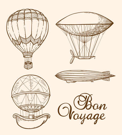design drawing: Set of vintage vector hand drawn air balloons Illustration