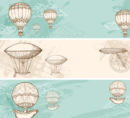 hot tour: Vintage horizontal with air balloons flying in the sky.