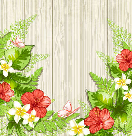 Summer background with red tropical flowers and leaves. illustration.