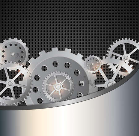 metal industry: Abstract metallic industrial background with gears. illustration.