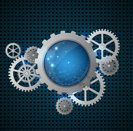 metal industry: Abstract metallic industrial background with gears. Vector illustration.