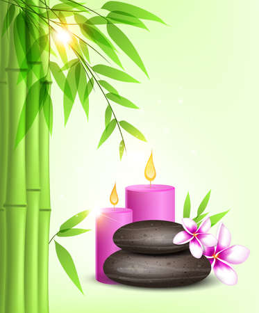bamboo therapy: Vector background with green bamboo, spa stones and pink candles.