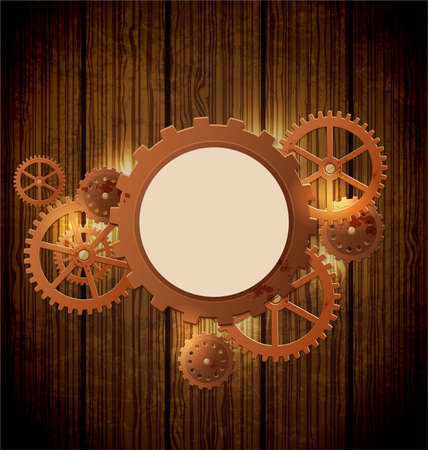 wooden circle: Abstract industrial background with gears  in the style of steampunk. Vector illustration. Illustration