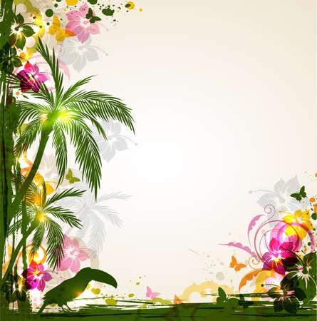 Vector luminoso sfondo tropicale con palme e tucano. Estate sfondo con fiori tropicali.