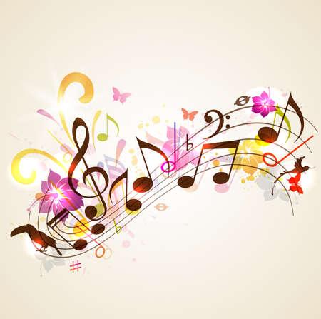 Abstract vector muziek achtergrond met notities en tropische bloemen. Achtergrond voor de zomer muziek partij.