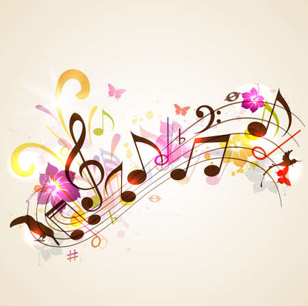 Abstract vector music background with notes and tropical flowers. Background for summer music party.