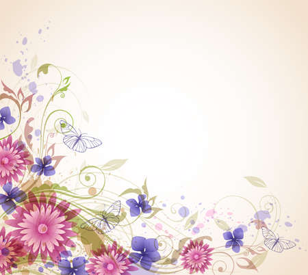 butterfly background: Abstract vector floral background with pink flowers and butterflies.