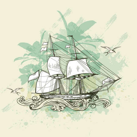 vessel: Vintage vector background with sailing vessel. Illustration