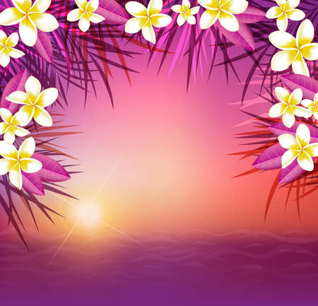 tropical sunset: Summer tropical background with palm leaves and flowers. Tropical sunset and sea. Illustration