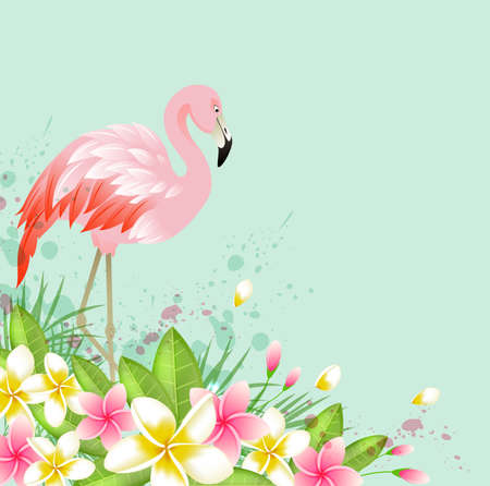 Tropical background with flowers and pink flamingo. Abstract green vector nature background. Illustration