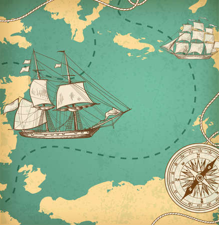 ancient map: Vintage vector map with sailing vessels. Ancient map with ships and compass.
