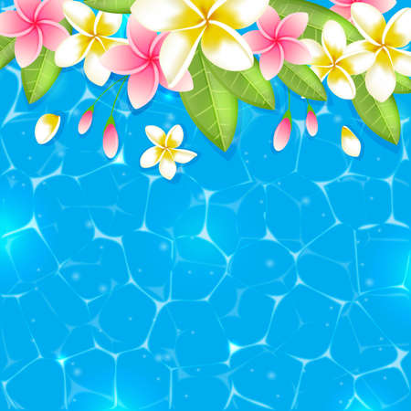 yellow flower tree: Tropical summer background with flowers and leaves in blue water. Pink and yellow tropical flowers on a blue background.