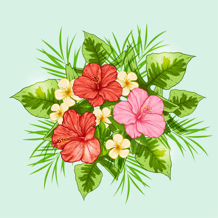 tropical flowers: Bouquet of tropical flowers on a green background. Hand drawn vector illustration.