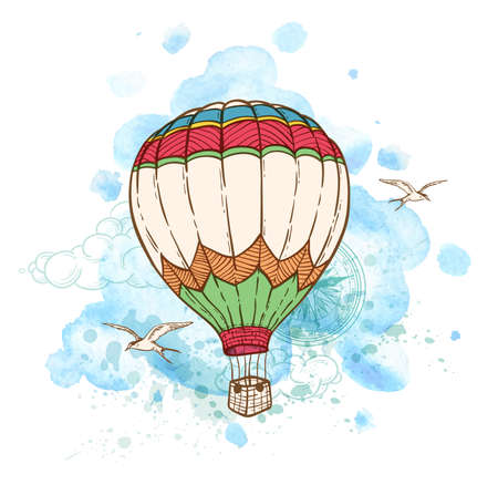 air to air: Blue abstract background with air balloon and watercolor blots. Hand drawn vector illustration.