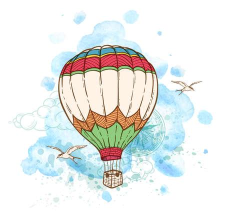 Fond bleu abstrait avec ballon à air et à l'aquarelle blots. Hand drawn illustration vectorielle. Banque d'images - 60336613