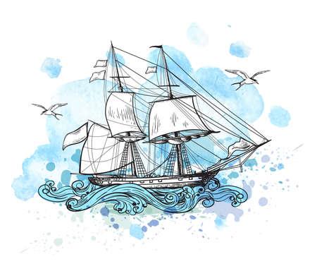 Vintage-Vektor-Hintergrund mit Segelschiff und blauen Aquarellflecken.
