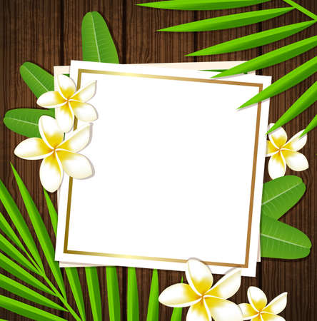 leaves frame: Decorative floral frame with tropical flowers and leaves on a wooden background Illustration