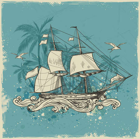 vessel: Vintage vector background with sailing vessel and palms. Illustration