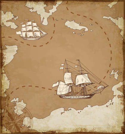 vessels: Vintage vector map with sailing vessels. Ancient map with ships. Illustration