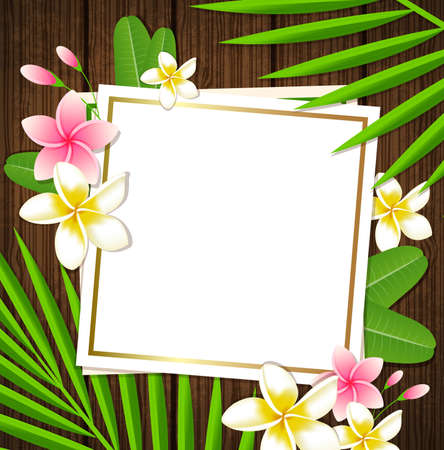 forest wood: Decorative floral frame with tropical flowers and palm leaves on a wooden background Illustration