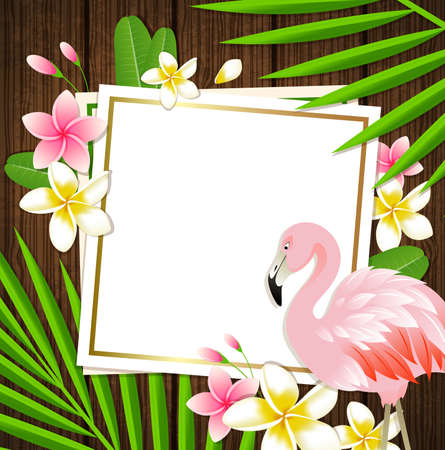 pink and brown background: Decorative floral frame with tropical flowers, palm leaves and flamingo on a wooden background