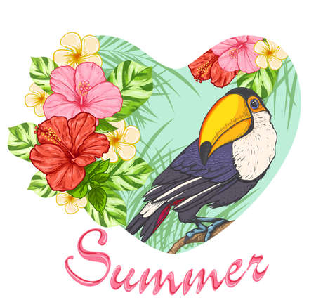 tropical flowers: Pink tropical flowers and toucan. Summer background with floral heart.