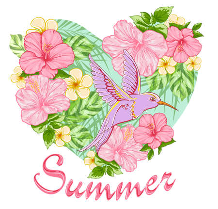 tropical flowers: Pink tropical flowers and bird. Summer background with floral heart.