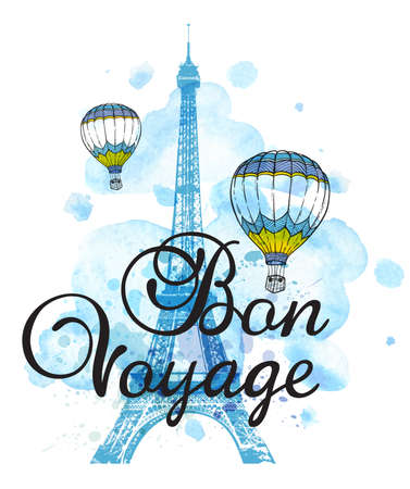 voyage: Eiffel Tower and air balloons on a blue watercolor background. Travel background with Bon voyage lettering.