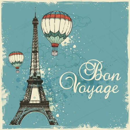 voyage: Vintage card with Eiffel Tower and air balloons. Travel background with Bon voyage lettering.