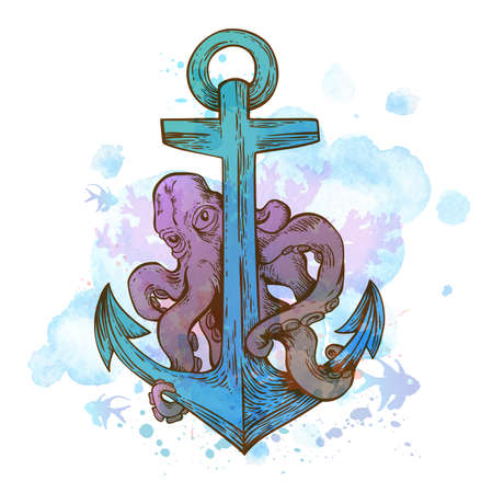devilfish: Vintage hand drawn vector anchor and octopus on a blue watercolor background. Illustration
