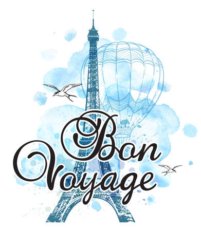 """Eiffel Tower and air balloon on a blue watercolor background. Travel background with """"Bon voyage"""" lettering."""