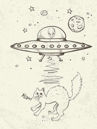 kidnapping: Fantastic doodle background with UFO abducts a cat. Vector illustration. Illustration