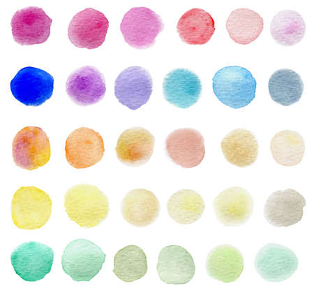 blots: Set of abstract round vector watercolor blots for design