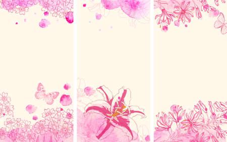 fiori di campo: banner floreale verticale con fiori disegnati a mano e le macchie acquerello rosa. Illustrazione vettoriale. Vettoriali