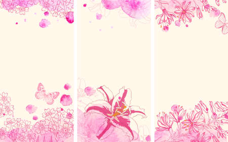 watercolour background: Vertical floral banners with hand drawn flowers and pink watercolor blots. Vector illustration. Illustration