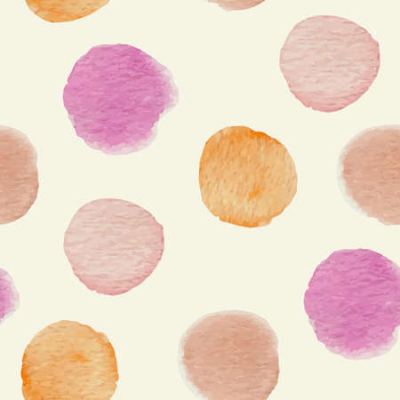 blots: Abstract vector seamless pattern with round watercolor blots