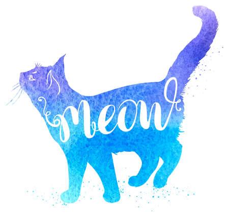 """Achtergrond met blauwe aquarel kat en belettering """"Miauw"""". Hand getrokken vector illustratie."""